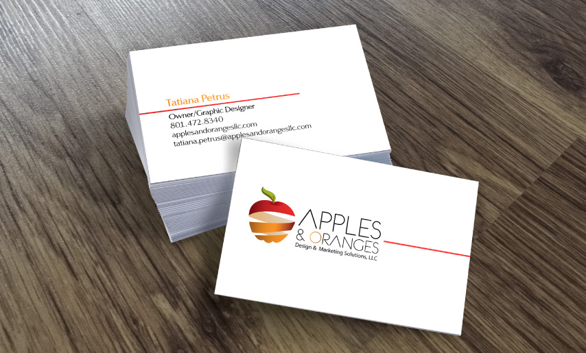 apples and oranges business card